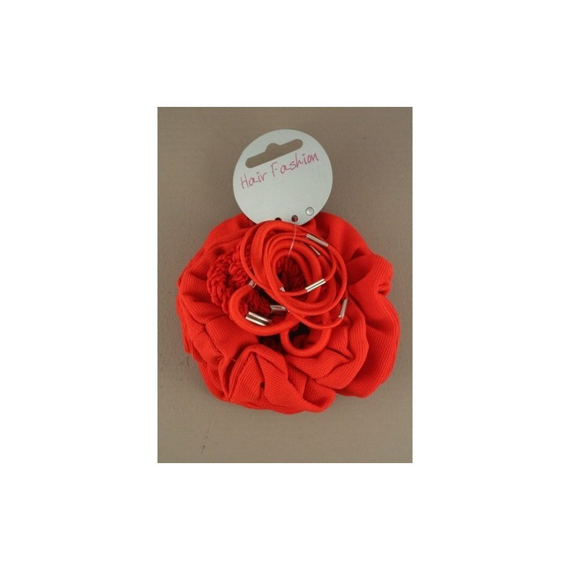 Pack of Red School Scrunchie and Elastics