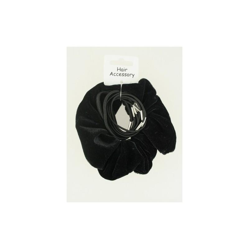 sort fløjl scrunchie og elastisk sæt.