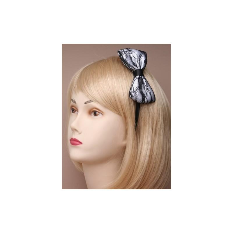 Aliceband - Black and white lace bow on narrow satin headband alice band