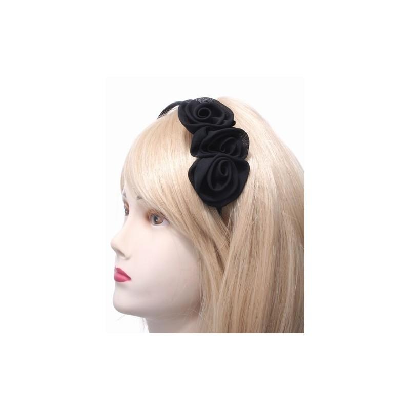 Aliceband - Black fabric rosettes on narrow satin headband alice band