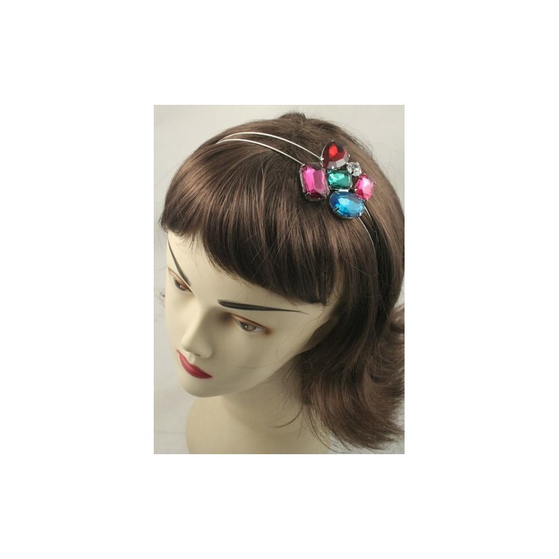 Aliceband - Coloured stone cluster on double wire silv headband alice band