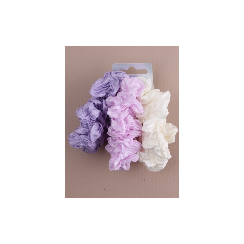 Card of 3 Tonal coloured creased fabric scrunchies. In blue/lilac/p...