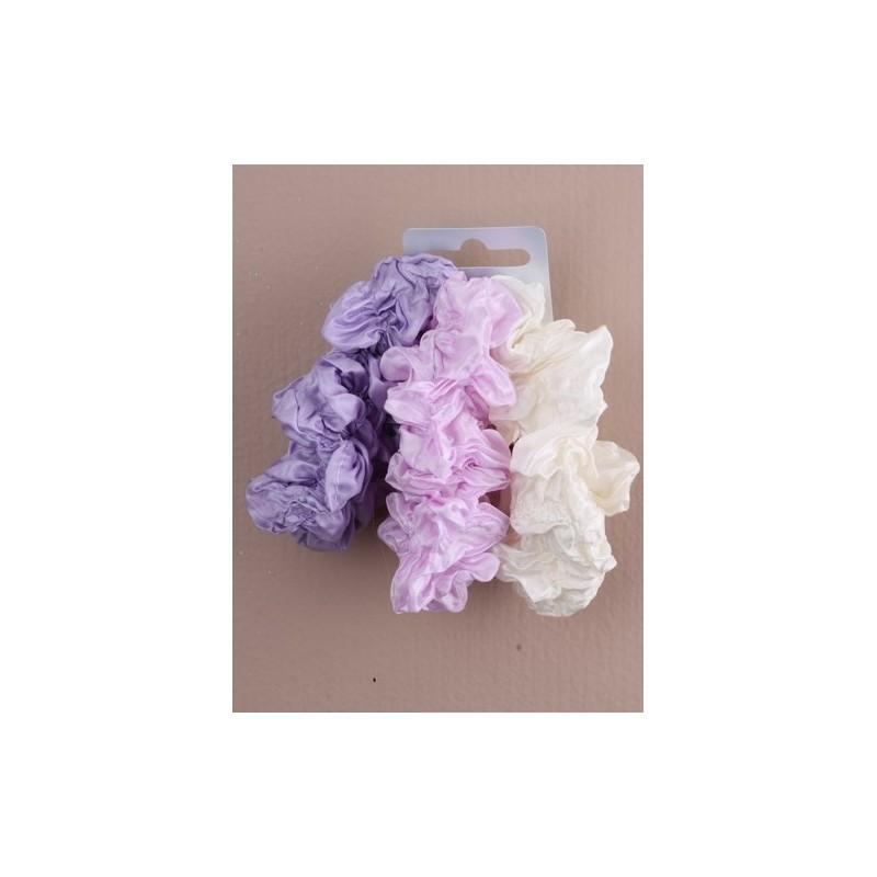 carte de 3 tons de couleur chouchous en tissu froissé. en bleu / lilas / p ...