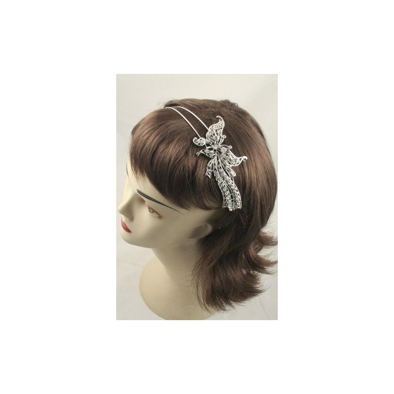 Aliceband - Large crystal butterfly on double wire silv headband alice band