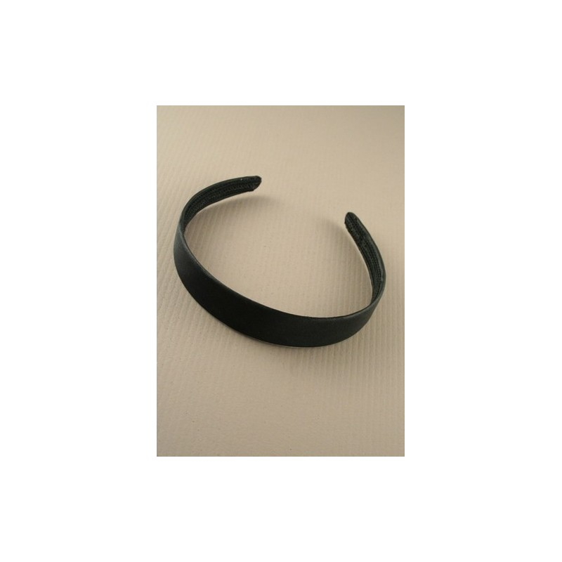 Aliceband - Plain wide (2.5cm) flat black satin headband alice band