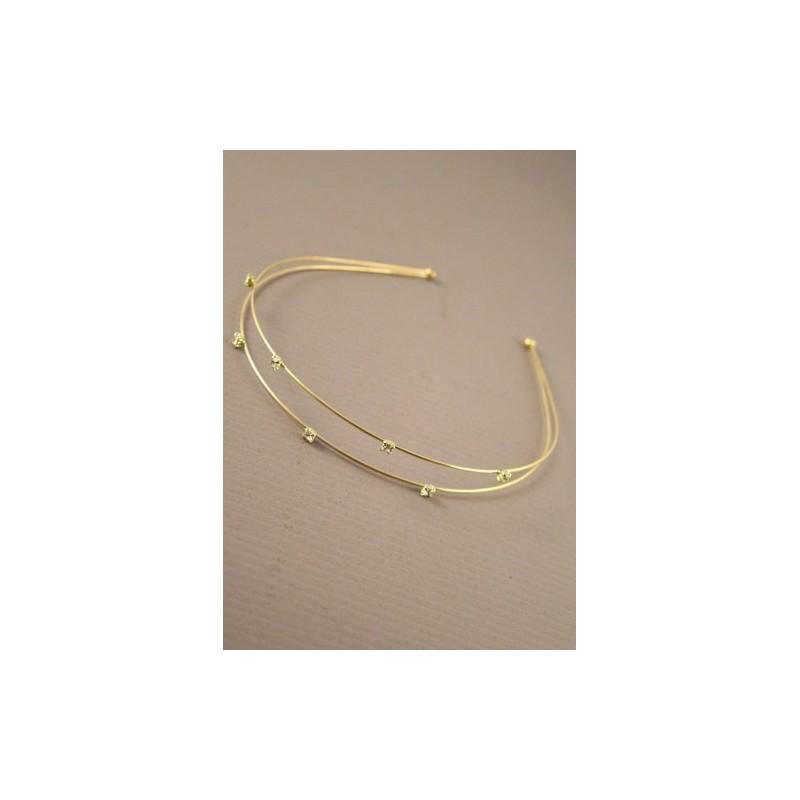aliceband - fila doble dorado con pequeños cristales claros banda banda alice