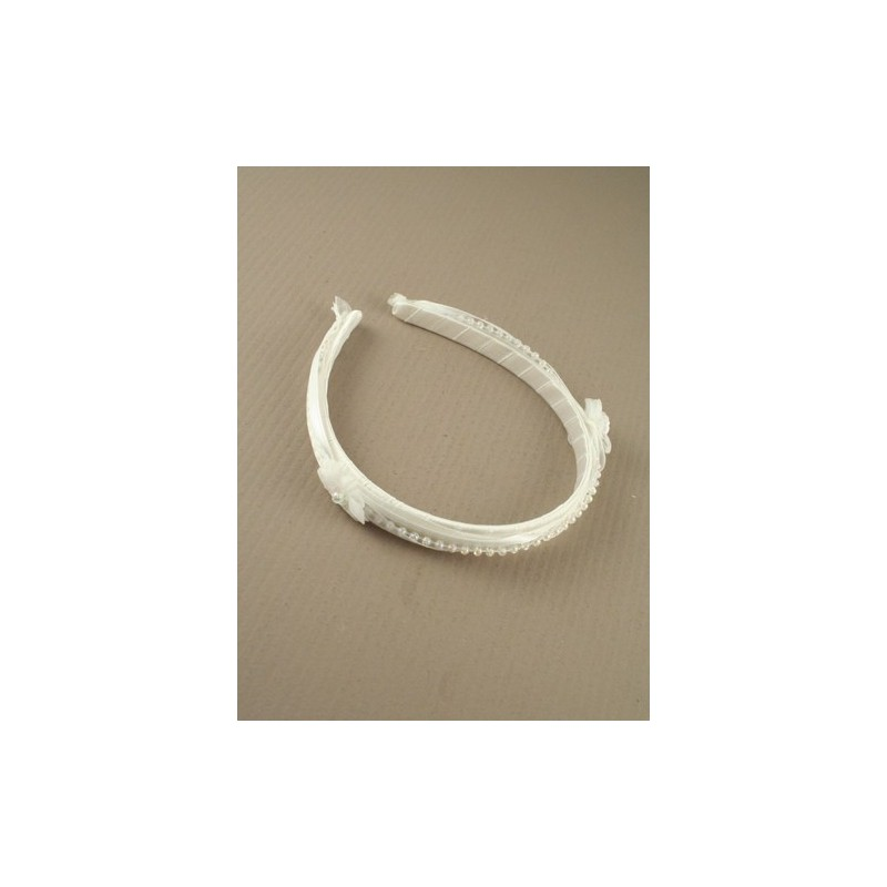aliceband - flores de color blanco con una hilera de cuentas unirse a la cinta banda alice banda