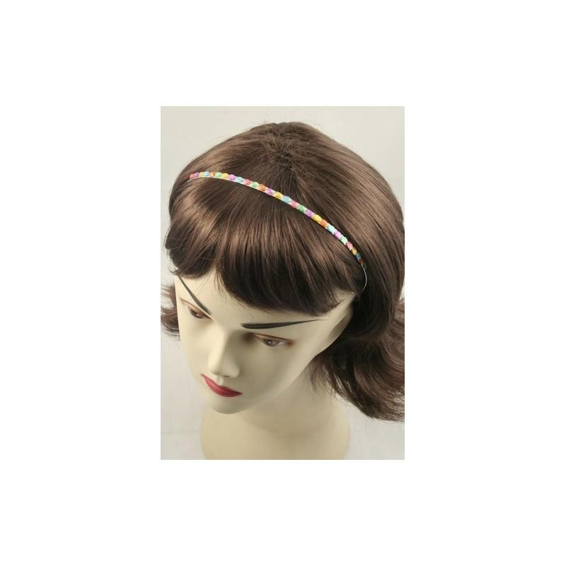 Aliceband - Colourful glitter stone detail narrow silv headband alice band