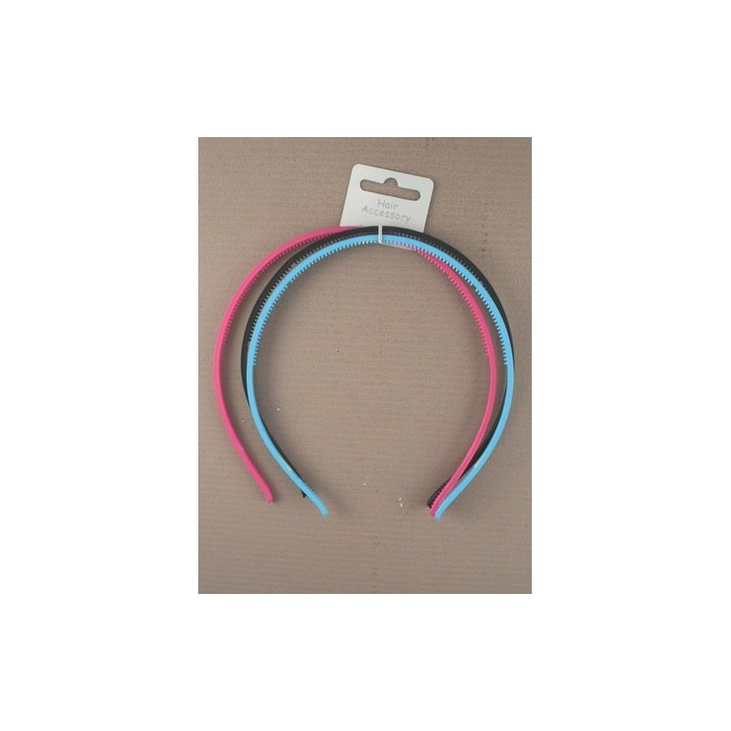 Aliceband - Triple Pack - Black plastic and 2 brightly coloured alice bands