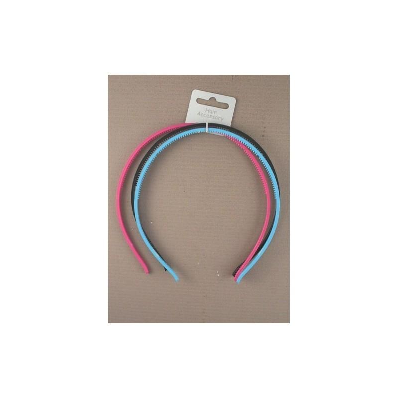 de plástico negro y dos bandas de colores brillantes alice - aliceband - paquete triple