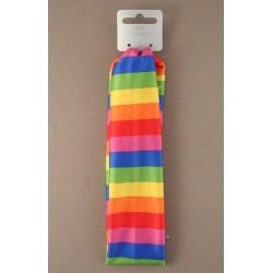 bright coloured rainbow stripe fabric headband.
