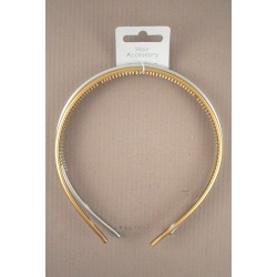 Aliceband - Twin pack - Shiny metallic gold and silver narrow alice bands