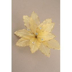 Bridal corsage brooch pin - large gold flower with crystals on a brooch pin