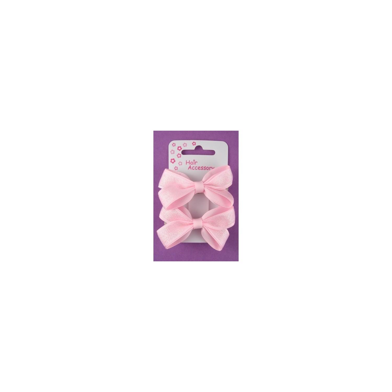 kort på 2 små lyserøde sløjfe hårspænder.
