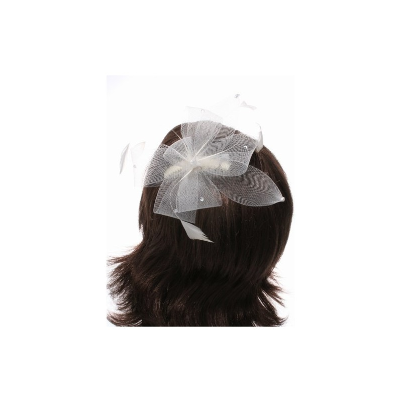 large cream looped mesh with stones fascinator on a clear comb.