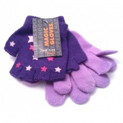 Girls Gloves - Twin pack plain gloves and fingerless with gripper print