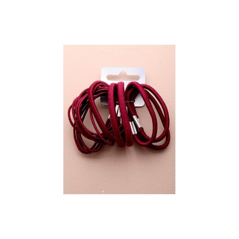Hair elastics - Mixed burgundy hair elastics x 18