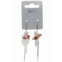 Earrings - Trailing heart bead dropper earrings