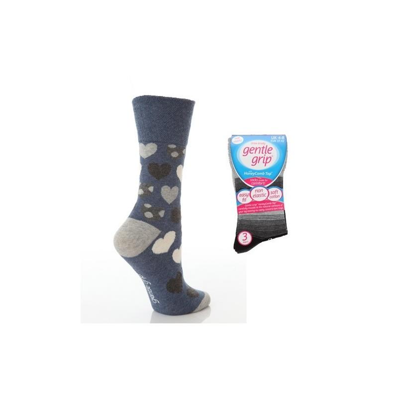 meias - 3 pares de meias aperto suave preto com top favo de mel