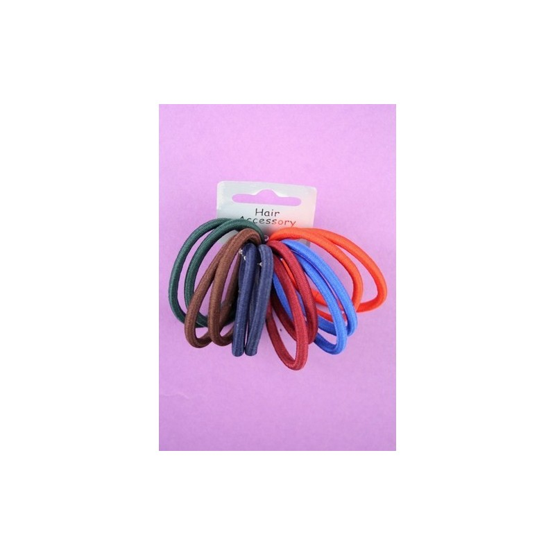card of 12 school coloured fabric endless elastics.