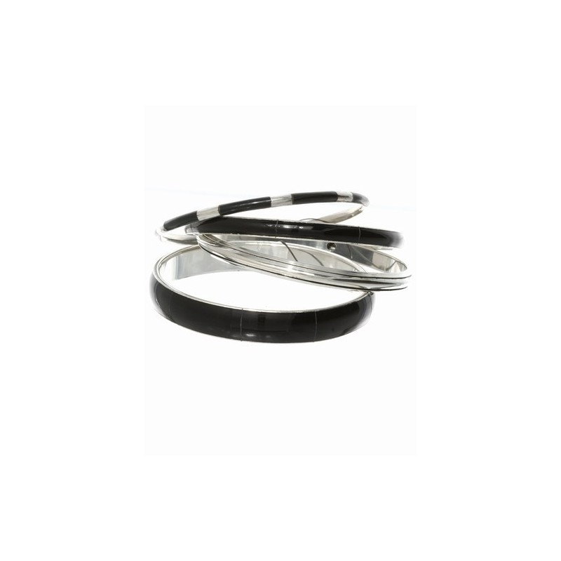 4 black and silv assorted width bangles.