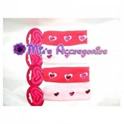Headband - Kids glitter heart stretchy fabric head band