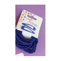 cabello clip y elásticos establecido en colores de la escuela