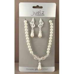 pearl bead neacklace with silv crystal pendant and matching earrings. in 3 assorted designs.