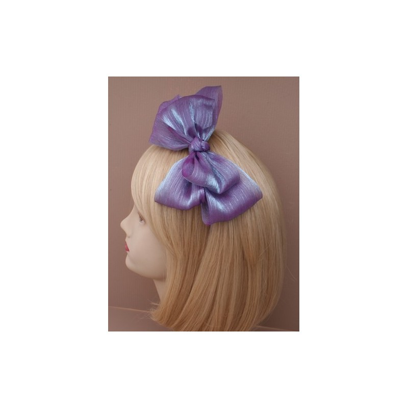 Aliceband - Large viscose double floppy bow on satin headband alice band