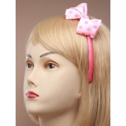 ribbon covered aliceband with large spotty fabric bow. in navy/pastel pink and pink.