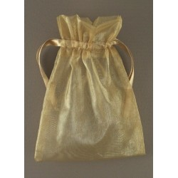 Organza gift bag - dark gold 11x15cm