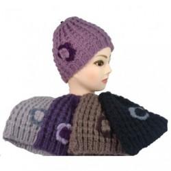 花ビーニーをニット ビーニー帽子-の女性の分厚いニット ビーニー帽子
