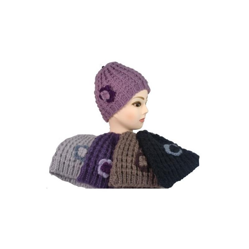 Beanie Hat - Damen Grobstrick Beanie Hat - knit beanie Blume
