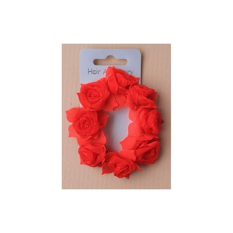 scrunchie - tecido rosebud flor de cabelo da cauda de pônei scrunchie