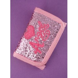 pink glitter wallet with princess / angel embroidery.