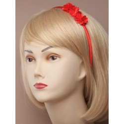 narrow satin aliceband with fabric ruffle flowers. in navy/red and black.
