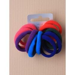 card of 12 bright coloured fabric endless elastics.