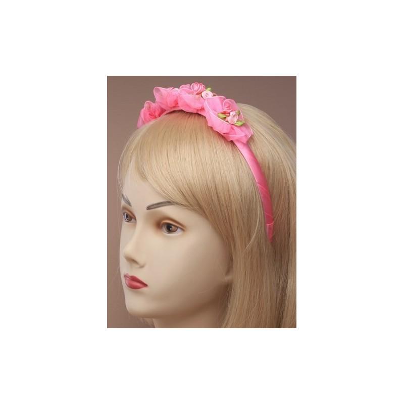 aliceband - capullos de rosa de gasa en la estrecha franja cubierta alice banda