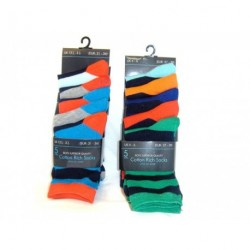 Socks - 5 Pairs of colourful navy stripe boys cotton rich...