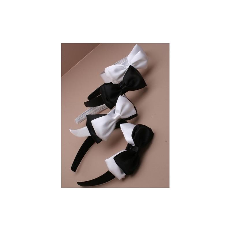 aliceband - preto / branco arco duplo no largo de cetim headband (25mm) banda alice