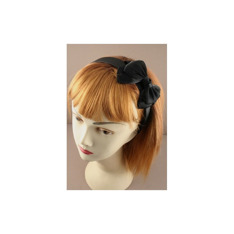 Aliceband - Twin Fabric bow on 2.5cm wide black satin headband alice band