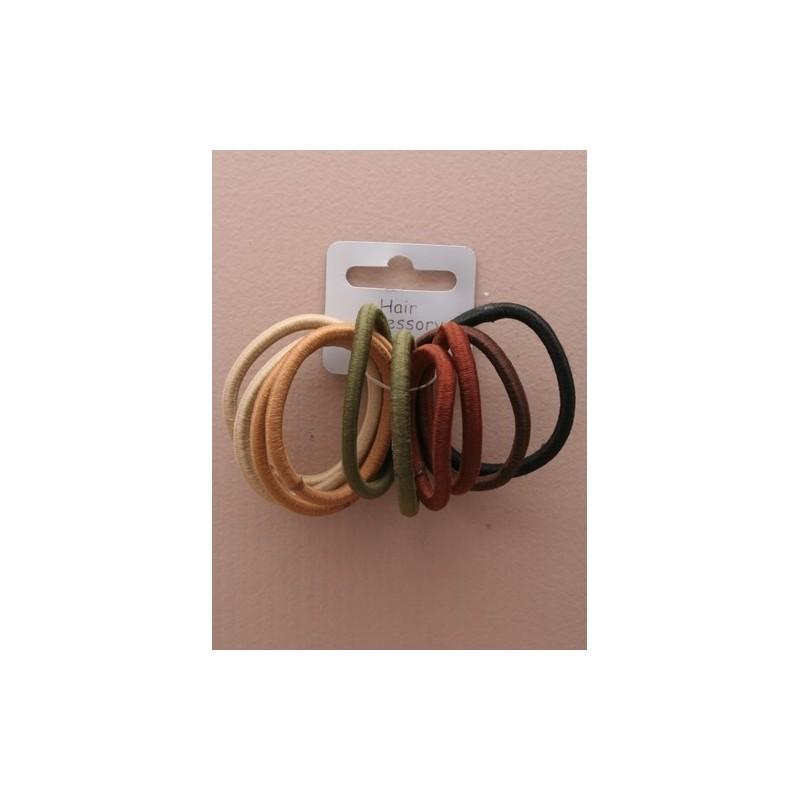 pack of 10 snag free natural coloured elastics.