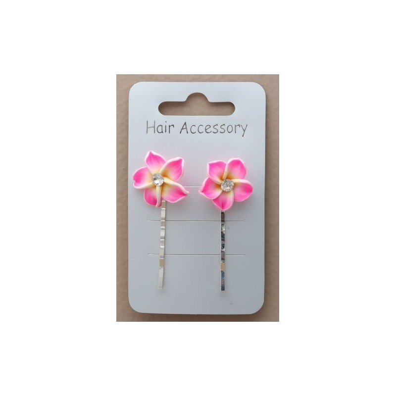Decorated Kirby Hair Grips - Fimo flower 5cm long silv kirby hair grip slides