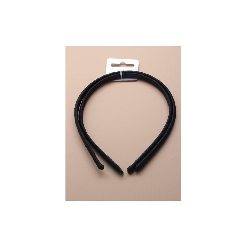 Aliceband Set - Pair of black ribbon covered alice bands