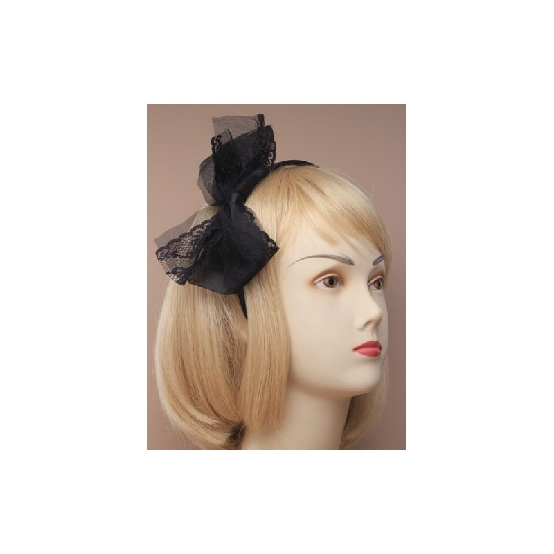 narrow satin aliceband with large fabric lace bow. in grey/pink/cream and black.