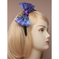 black satin narrow aliceband with large net bow. in...