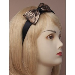 2cm wide black satin aliceband with lace covered bow. in...
