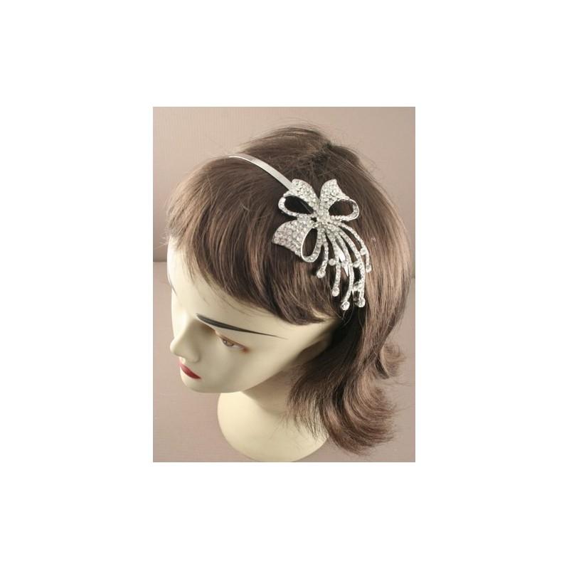 Aliceband - Crystal flower, bow or ribbon motif silv headband alice band