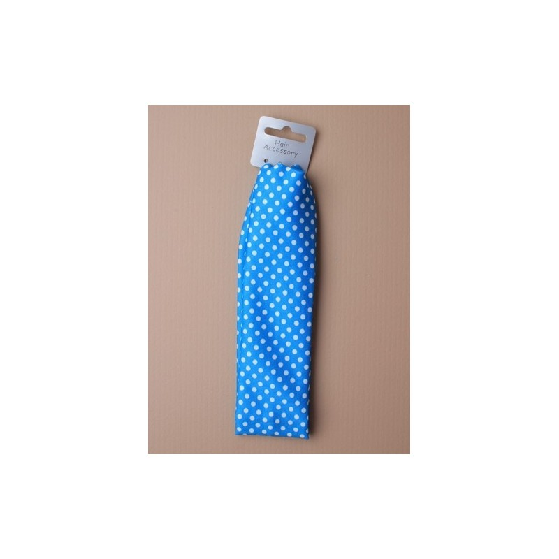 child size brightly coloured white spotty beandeaux. in pink/blue and green.