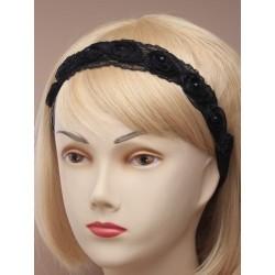 black lace rosebud fabric stretch bandeaux.